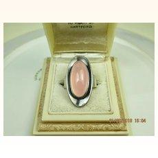 Fine Niels Erik From Denmark Modernist Sterling Rose Quartz Ring ~ c1960 - 70s