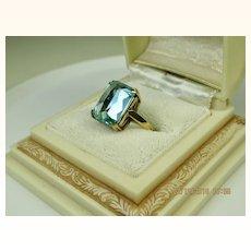 Fine Vintage 9K Gold Blue Aquamarine Lab Spinel Ring