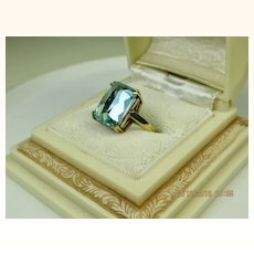 Fine Vintage 9K Gold Blue Aquamarine Lab Spinel Ring