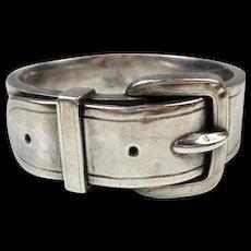 Fine Victorian Heavy Silver Buckle Bracelet ~ c1890