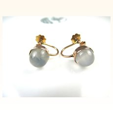 Edwardian Moonstone 9 Carat Gold Earrings ~ 1910