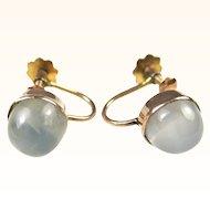 Edwardian Moonstone 9 Carat Gold Earrings ~ 1910