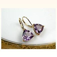 Very Fine Vintage 9K Gold Amethyst Drop Earrings ~ 1970s