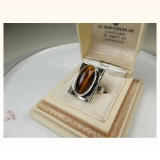 Niels Erik From Denmark Sterling Silver Tiger Eye Modernist Ring ~ 1960s