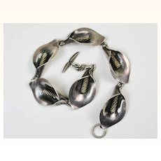 Vintage Niels Eric From Denmark Sterling Calla Lily Bracelet ~ 1940s