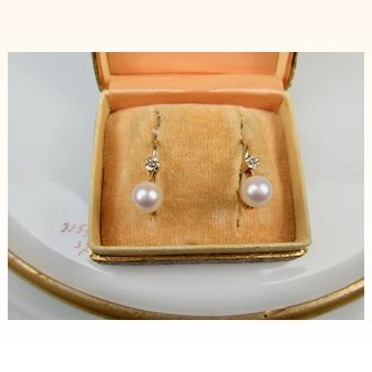 Very Fine French Art Deco Era 18 k Gold, Diamond and Pearl Dormeuses Earrings ~ c1920