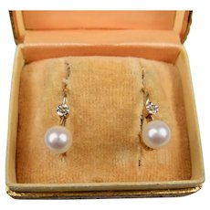Very Fine French Art Deco Era 18 k Gold, Diamond and Pearl Dormeuses Earrings ~ c1920