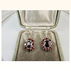 Fine Vintage Bohemian Garnet and Sterling Silver Earrings