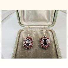 Fine Vintage Bohemian Garnet and Sterling Silver Earrings