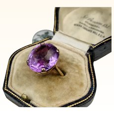 Fine Art Deco Era Amethyst Rose Gold Ring ~ Superb