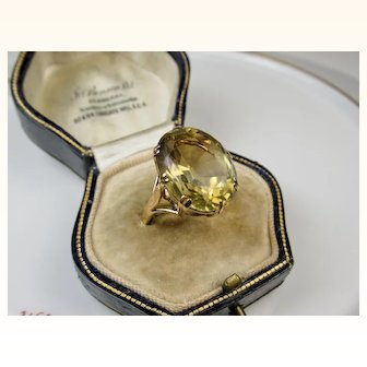Fine Art Deco Era Citrine Rose 9ct Gold Ring ~ Splendid