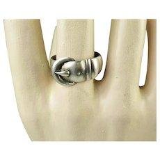 Fine Victorian Birmingham Sterling Silver Buckle Ring ~ 1892