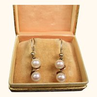 Very Fine Art Deco Era 9 Carat Gold and Cultured Pearl Earrings ~ c1930s