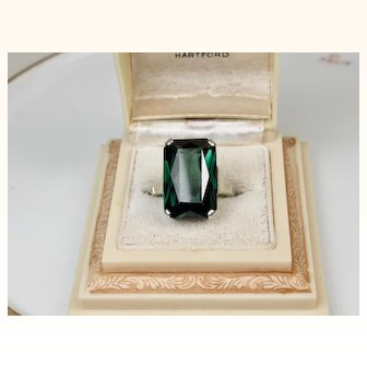 Art Deco Large Green Spinel Ring 830 Silver ~ Superb