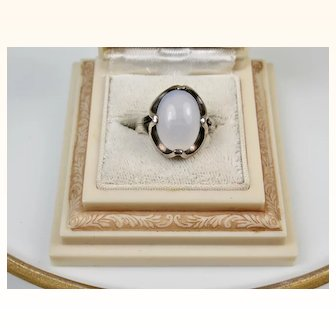Modernist Vintage Mexico Moonstone and Sterling Silver Ring