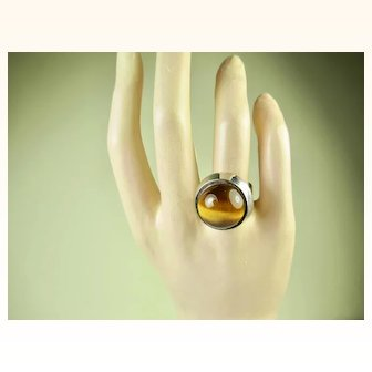 Vintage Modernist Danish Sterling and Tiger Eye Ring ~ c1960s