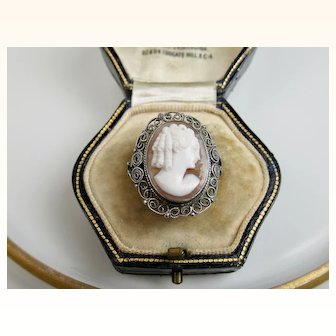 Vintage Italian 800 Silver Filigree Finely Carved Shell Cameo Ring ~ c1930s