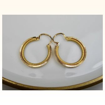 Fine French Vintage Creole 18k Gold Earrings ~ c1950