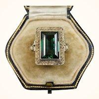 Theodor Fahrner Art Deco Jugendstil Vermeil Sterling, Spinel Ring ~ c1930s