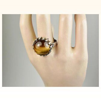 Modernist Bengt Hallberg Sterling Silver Tigers Eye Ring ~ c1970s Sweden