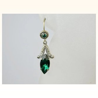 Vintage Green and White Crystal Gold Silver Earrings ~ c1940s