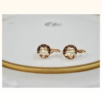 Antique French Napoleon III 18 k Rose Gold and Pearl Dormeuses Earrings ~ c1870