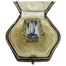 Art Deco Jugendstil Theodor Fahrner Sky Blue Topaz, Vermeil Sterling Ring ~ c1930