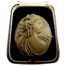 Fine Quality Victorian Antique Carved Lava Cameo Brooch c1870 - 1880