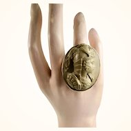 Victorian Athena the Goddess of Wisdom Cameo Ring ~ c1870 - 1880.