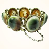 Superb Victorian Operculum Shell and Gilded Silver Bracelet c1880