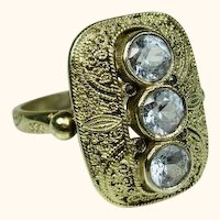 Stunning Theodor Fahrner Art Deco Aquamarine Sterling Filigree Ring