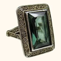 Superb Theodor Fahrner Art Deco Jugendstil Sterling Spinel Ring ~ c1930s
