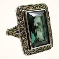 Superb Theodor Fahrner Art Deco Jugendstil Sterling Spinel Ring ~ c1930s
