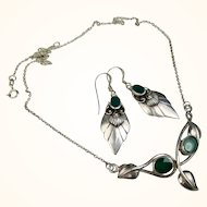 Arts and Crafts Jade Silver Necklace and Earring Set