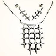 Rare Marianne Berg Uni David-Andersen Norway Modernist 'Troll' Series Necklace and Earrings ~ c1966