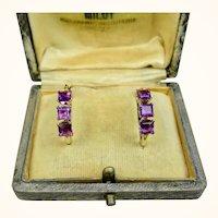 Fine Vintage 14K Gold Faceted Amethyst Triple Stone Hoop Earrings