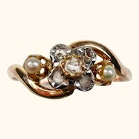 French Belle Epoch Antique Tourbillon  18k Gold Ring with Diamond and Pearl ~ c1890 - 1900