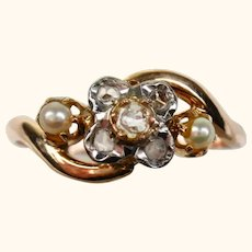 French Belle Epoch Antique Tourbillon Ring with Diamond and Pearl ~ c1890 - 1900