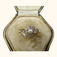 French Antique 18k Gold Tourbillon Ring with Pearl and Diamonds ~ c1890 - 1900