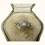 French Antique Tourbillon Ring with Pearl and Diamonds ~ c1890 - 1900