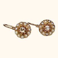 Antique French Napoleon III Dormeuses Cluster Earrings 18 k Gold, Diamond and Pearl ~ c1860