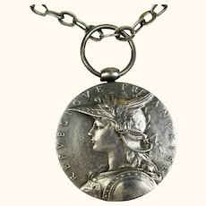 Rare French Silver Medal Signed O. Roty Pendant and Chain ~ 1895