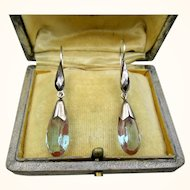 Antique Saphiret Faceted Steel and Silver Earrings ~ c1900