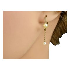 Very Fine French Antique 18 k Gold and Pearl Drop Earrings ~ c1900