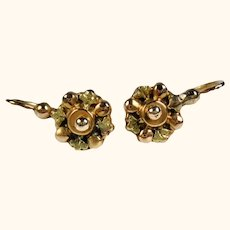 Antique Petite French Napoleon III Dormeuses 18k Gold Earrings ~ c1870