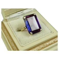 Stunning Huge Vintage 16 Carat Simulated Alexandrite Gold Ring