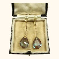 Edwardian Saphiret and Pearl 9k Gold Long Drop Earrings ~ c1900