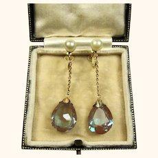 Edwardian Saphiret and Pearl 9k Gold Long Drop Earrings ~ c1900