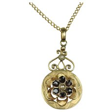 Antique French Napoleon III necklace 18 k Gold, Pearl Garnet ~ c1860