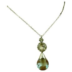 Antique Saphiret and Crystal Pendant Silver Necklace ~ c1900